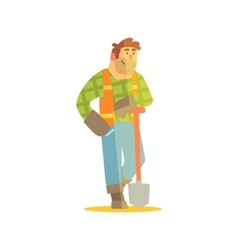 Builder Leaning On Spade Construction Site vector