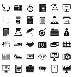 building department icons set simple style vector image