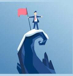 businessman first reached summit the vector image