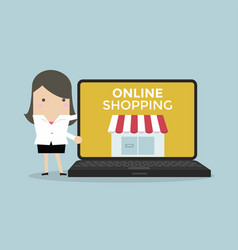 businesswoman promote online shop in computer vector image