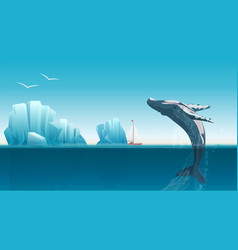 Card template with whale jumping under the blue vector