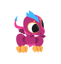 Cartoon baby dragon with big eyes little wings vector