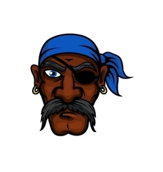 Cartoon pirate in bandanna and eye patch vector image