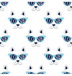 cat face pattern on white vector image