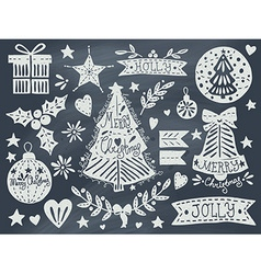 Christmas grunge set on blackboard vector image