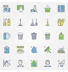 Cleaning colorful icons vector image