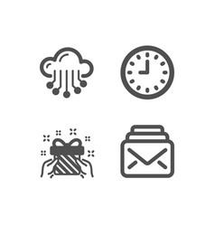Cloud storage gift and clock icons mail sign vector