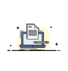 Coder coding computer list paper flat color icon vector