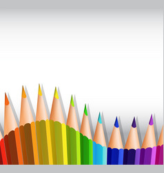 Colorful pencils at the bottom of paper vector