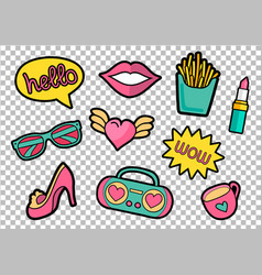 Colorful quirky patches set pin trendy vector