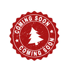 coming soon grunge stamp seal with fir-tree vector image