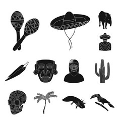 Country mexico black icons in set collection for vector