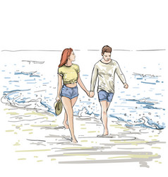 couple hold hands walking beach man and woman vector image