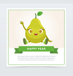 Cute humanized pear fruit character waving its vector