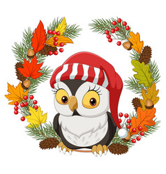 cute little owl with autumn leaves vector image