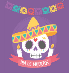day dead sugar skull with hat candles vector image