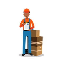 Delivery man holding delivering and documents vector
