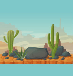 Desert scenery with mountains and cactus vector