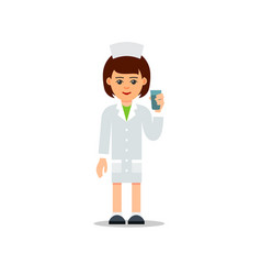 doctor woman cartoon female doctor stands with a vector image