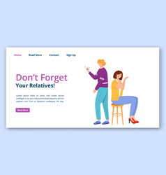 Dont forget your relatives landing page template vector