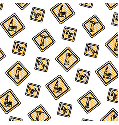 doodle diamond caution emblem to industry vector image