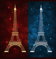 eiffel tower and hearts vector image