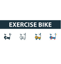 exercise bike icon set four simple symbols in vector image