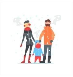 Family Outside In Winter vector
