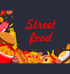 Fastfood street food restaurant poster vector