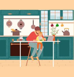 Father feeding child while working in kitchen vector