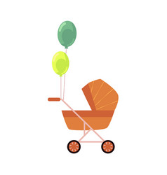 Flat baby stroller carriage pram isolated vector