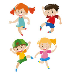 Four characters kids vector