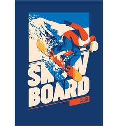 Freeride snowboarder in motion sport poster or vector
