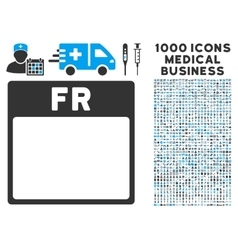 Friday calendar page icon with 1000 medical vector