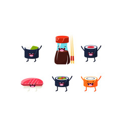 funny sushi characters set soy sauce chopsticks vector image