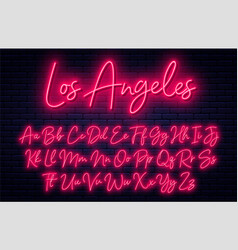 Glowing neon script alphabet neon font with vector