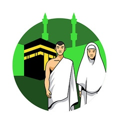 Hajj Couple And Kaaba Background vector