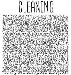 Hand drawn cleaning tools seamless pattern vector
