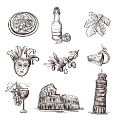 Hand drawn set of Italy vector