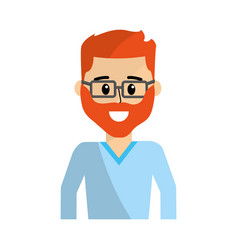 Happy man with beard wearing glasses vector