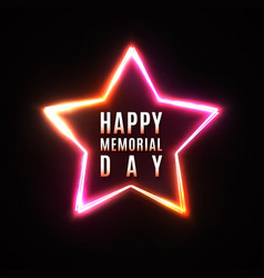 happy memorial day greeting card star background vector image