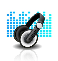 headphones - blue background vector image