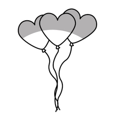 Heart shaped balloons air party icon vector