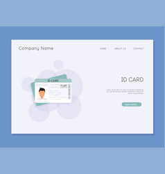 Id card flat design style identification card icon vector