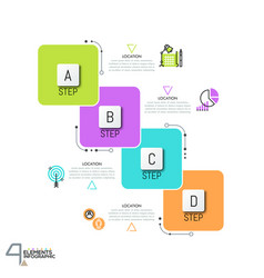 Infographic design template with 4 overlapped vector