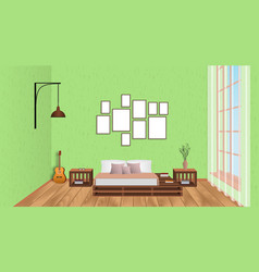 interior of living room with empty frames guitar vector image