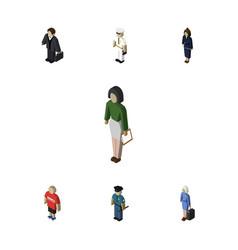 isometric human set of hostess businesswoman vector image