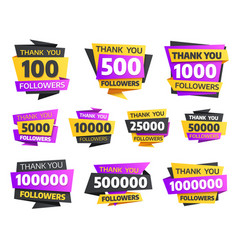 Labels or stickers for followers milestone set vector