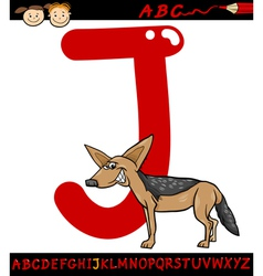 Letter j for jackal cartoon vector