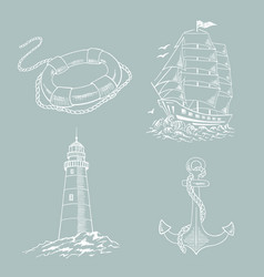 lighthouse ship sailboat sketch set vector image